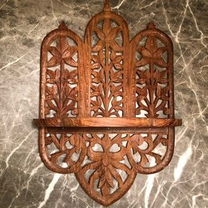 Boho Wooden Hand Carved Shelf